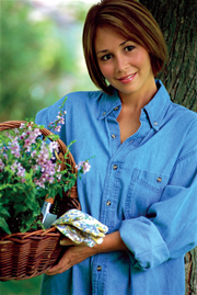 womanblueshirtflowerbasket